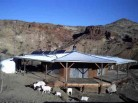 goats near solar powered adobe home