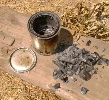 homemade biochar coal from woodgas stove