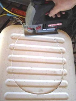 cutting hole in ice chest lid