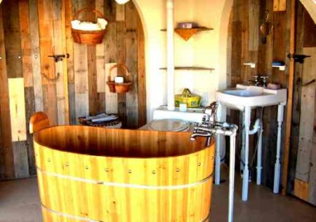 antique style recycled wood bathtub