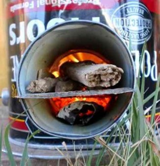 recycled soup cans rocket stove